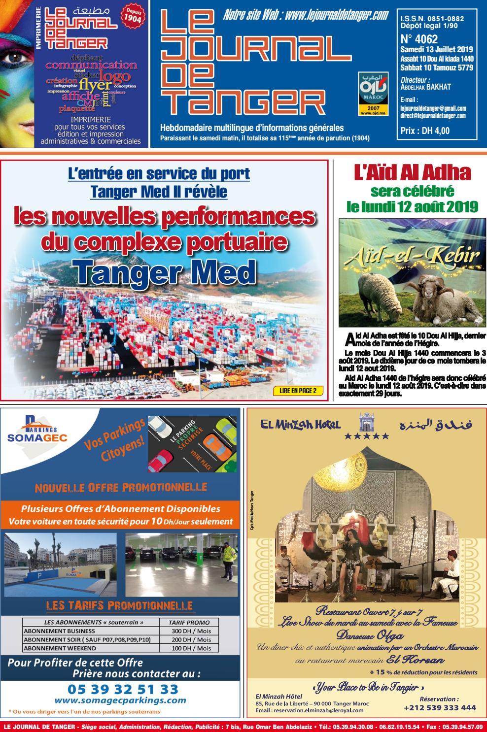 Le Journal De Tanger 13 Juillet 2019 By Le Journal De Tanger