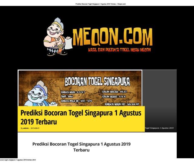 Prediksi Bocoran Togel Singapura  Terbaru By Mbah