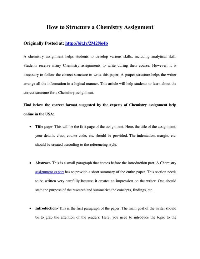 How to Structure a Chemistry Assignment by jasminejoe25 - issuu