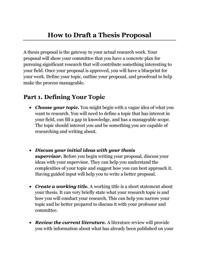 How to Draft Thesis Proposal for Academic Students Delhi, India by