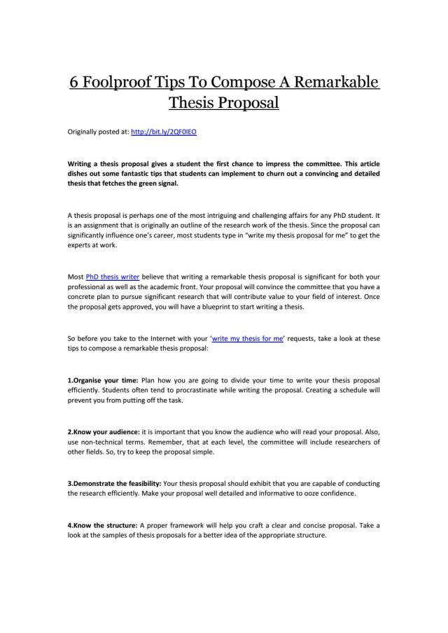 22 Foolproof Tips To Compose A Remarkable Thesis Proposal by