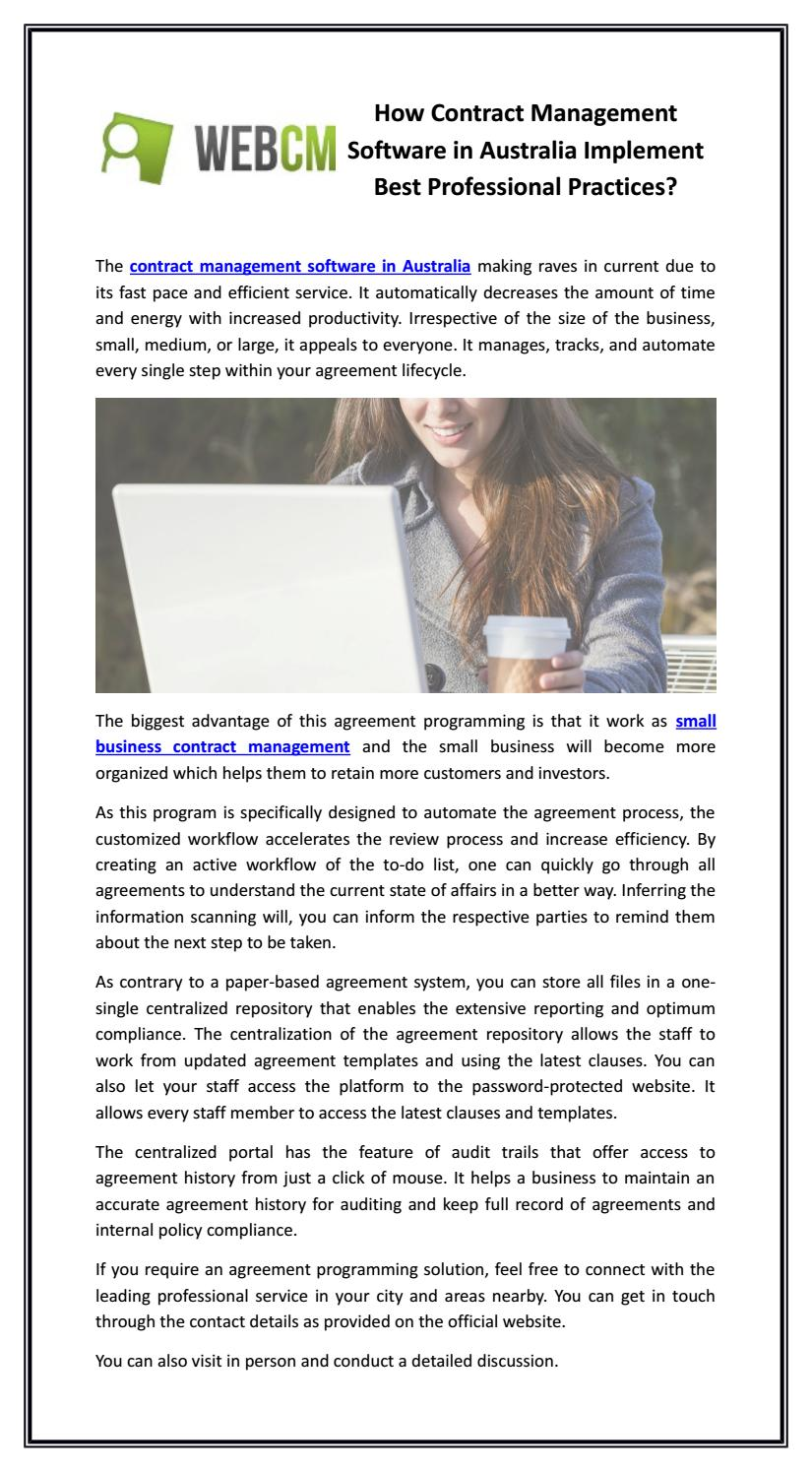 Here are several software development contract template examples you can use: How Contract Management Software In Australia Implement Best Professional Practices By Contract Management Issuu