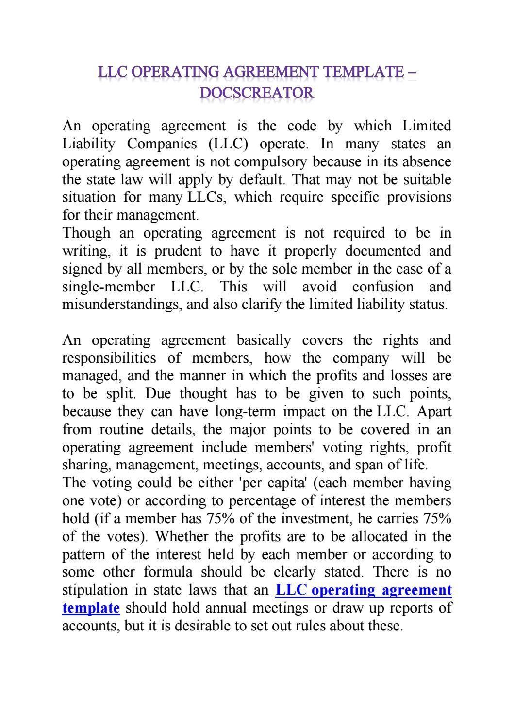 · a document created by the owners, or members of an llc · a written record. Docscreator Online Llc Operating Agreement Template By Docs Creator Issuu