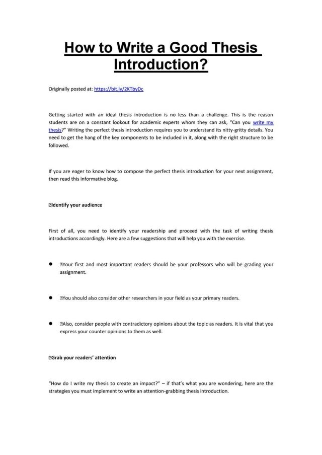 How to Write a Good Thesis Introduction? by Homework help - issuu