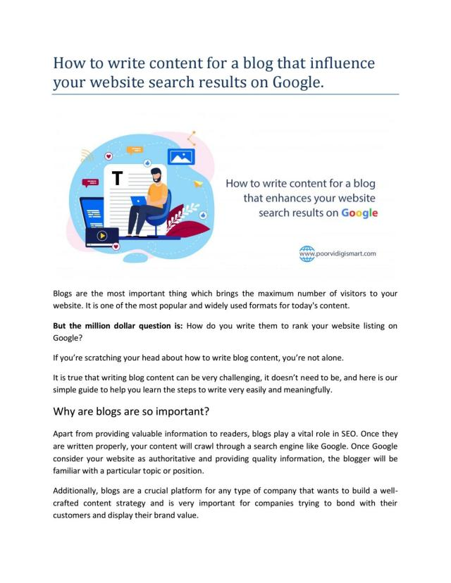 How to write content for a blog that influence your website search