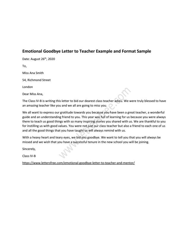 Emotional Goodbye Letter to Teacher and Mentor by Sample Letters