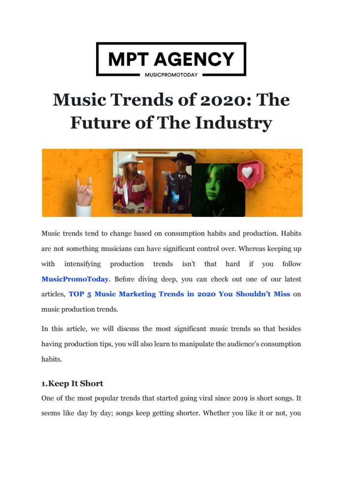 Musicpromotoday On Music Trends Of 2020 The Future Of The Industry By Music Promo Issuu