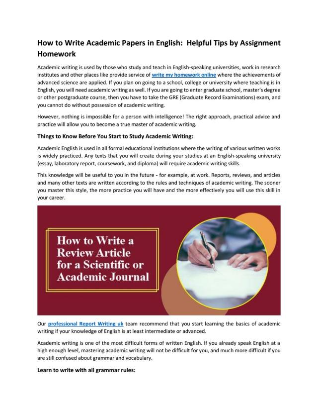 How to Write Academic Papers in English: Helpful Tips by