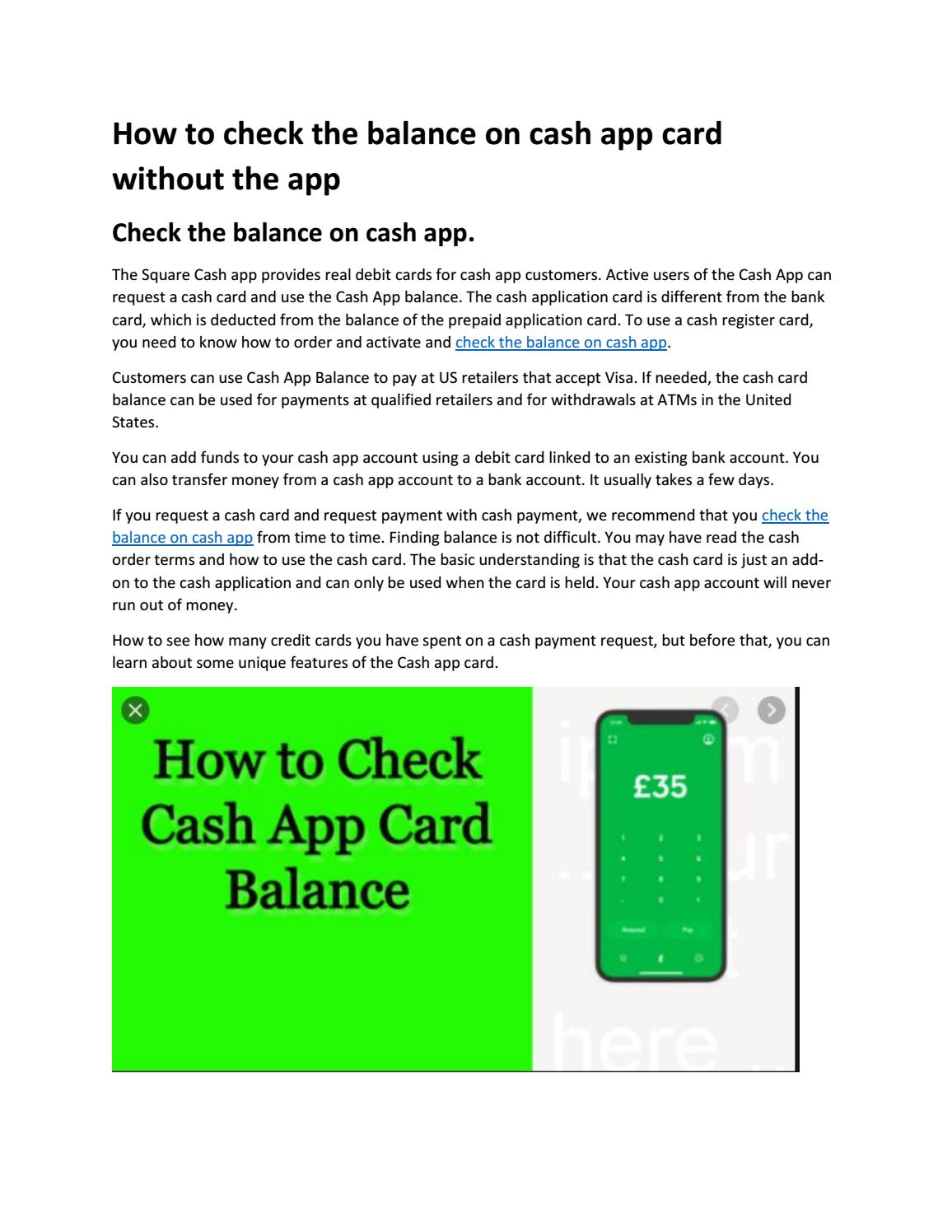 Some offer miles for airlines, while others give you points on hotels. How To Check The Balance On Cash App Card Without The App By Asif Javed Issuu