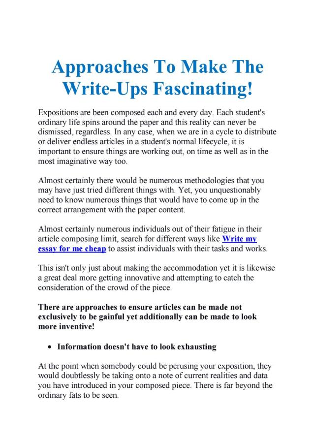 Approaches To Make The Write-Ups Fascinating! by James Davis - issuu