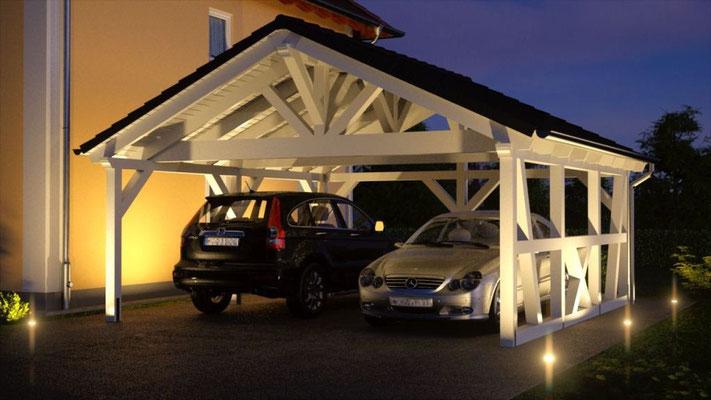 Carport Und Garage Mit Fachwerk Premium Carportwerk