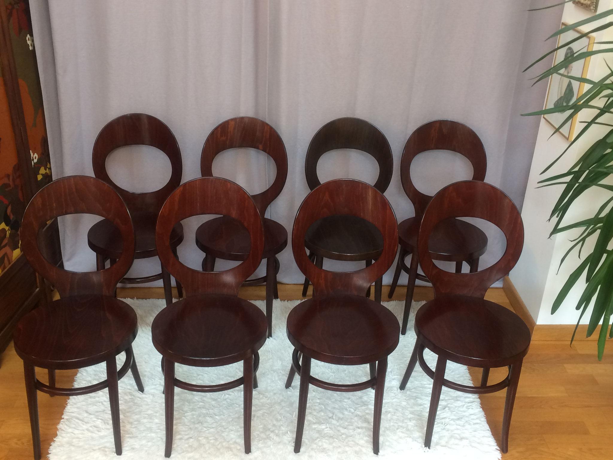 8 chaises baumann mouette annees 70
