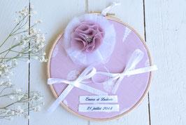 porte alliance personnalise rose poudre mariage champetre vintage boheme tambour bois