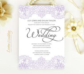 Purple Wedding Invitations Lemonwedding