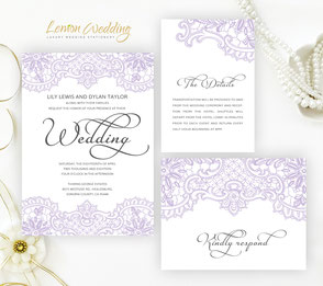 Wedding Invitations With Lace Lemonwedding
