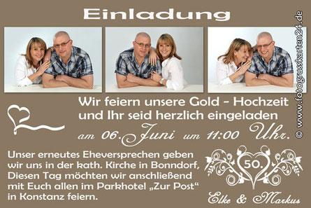 Einladungen Goldhochzeit Mit Ihren Fotos Wunschtext