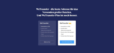 Share you files online with We Transfer