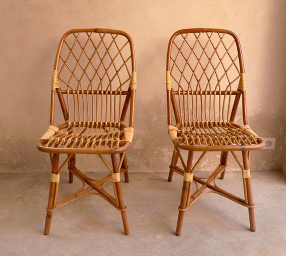 chaises vintage chaises en rotin chaises annees 60