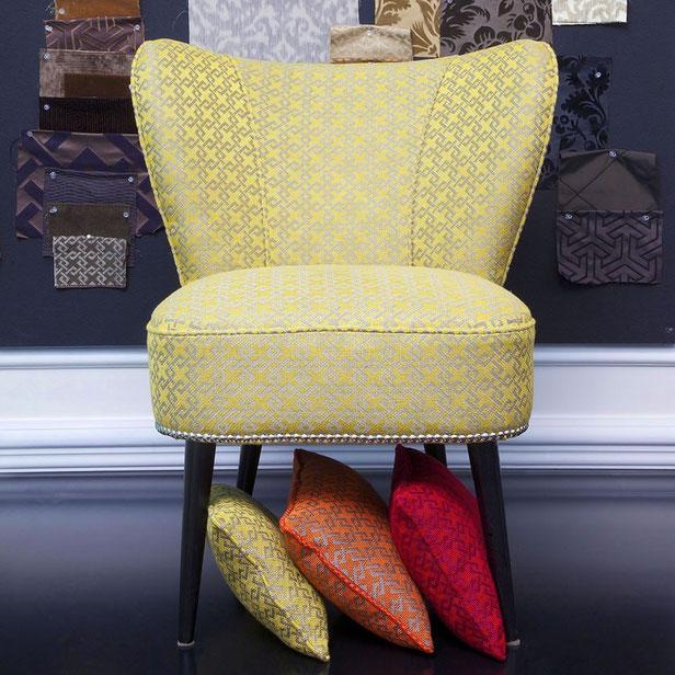 28.5w x 35.5d x 37.5t; Tessuti Arredamento Italian Vintage Sofa