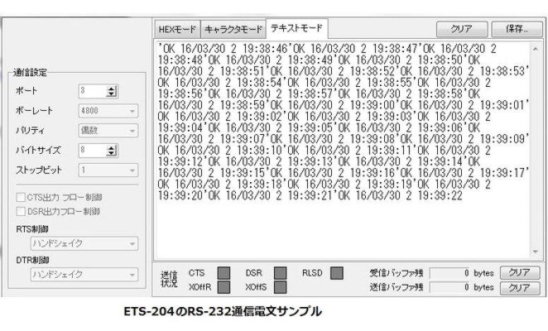 ETS-204(V3) RS-232通信電文 サンプル画像