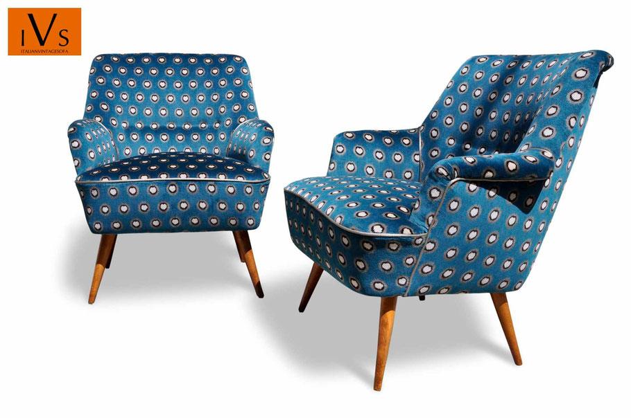 Poltrona anni 60 di design rivestita a nuovo pelle blu colore blu â condizioni: Gallery Poltrone Rifatte Italian Vintage Sofa