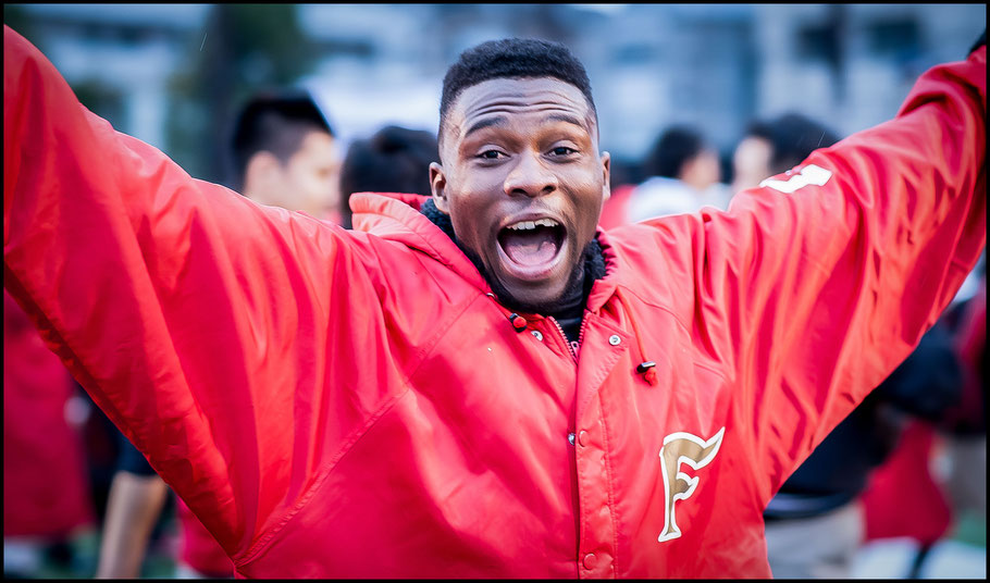 Adeyemi celebrates a semi final win despite breaking a tooth in the game — John Gunning, Inside Sport: Japan, Nov 27, 2016