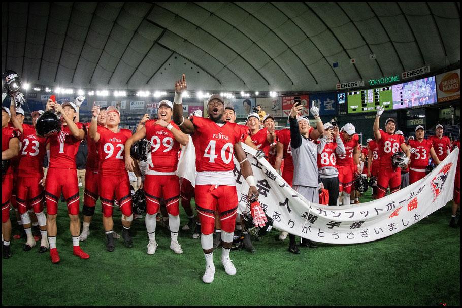 Adeyemi and teammates after last year's Japan X Bowl — Sachiyo Karamatsu, Inside Sport: Japan, Dec 17, 2018