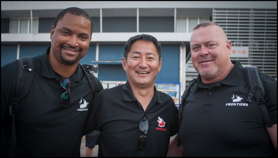 Former Fujitsu Head Coach Satoshi Fujita (center) – John Gunning, Inside Sport: Japan, April 22, 2018