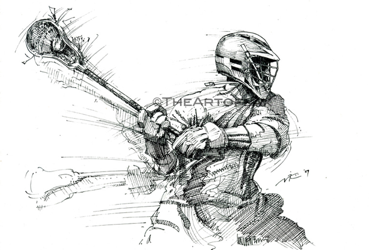 Native American Lacrosse Stick Sketch Coloring Page