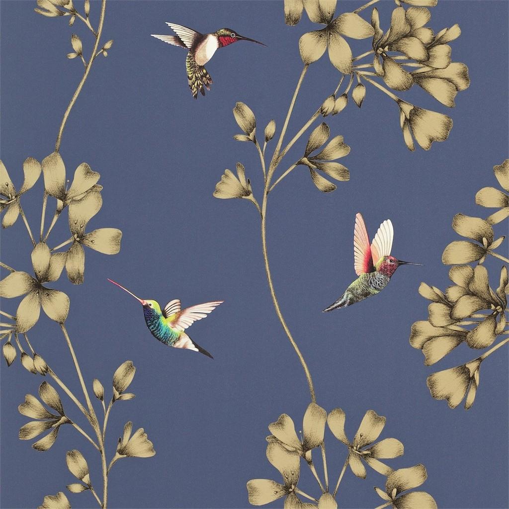 Carte da parati di design. Colibri Carta Da Parati A Fiori Ed Uccelli Italian Vintage Sofa