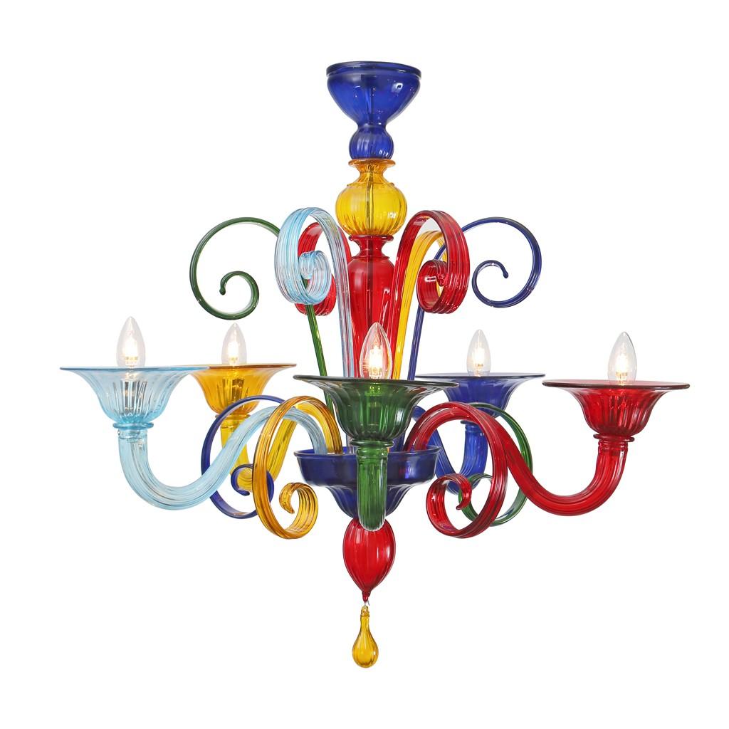 Sospensione 0200 sylcom moderna in vetro di murano. Multicolor Lampadario Di Murano Colorato Flm Murano