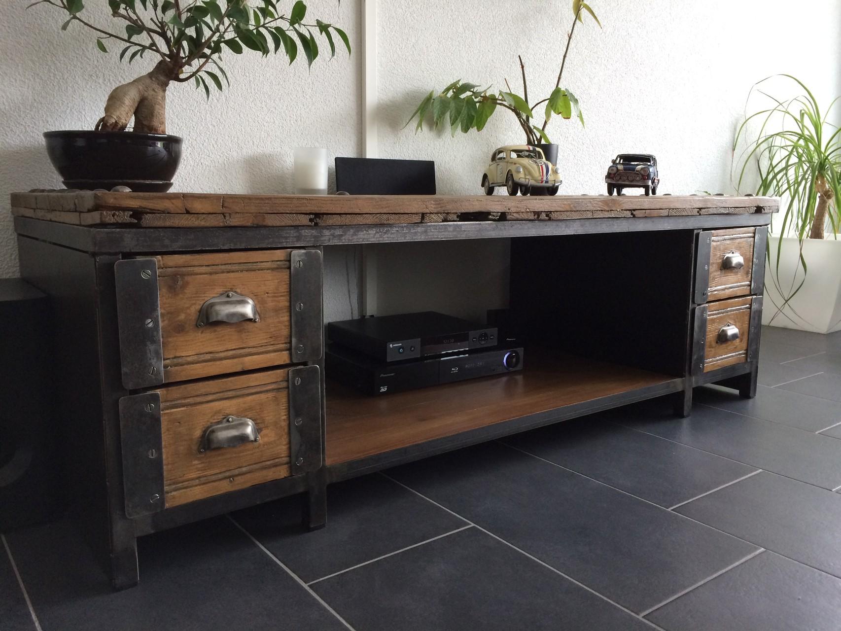 Table Basse Meuble TV Industriel ATELIER VINTAGE