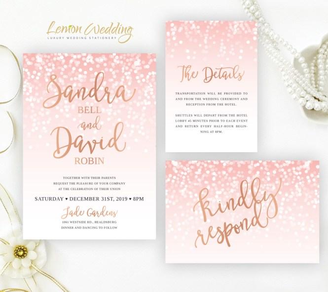 Pink And Rose Gold Wedding Invitation Sets