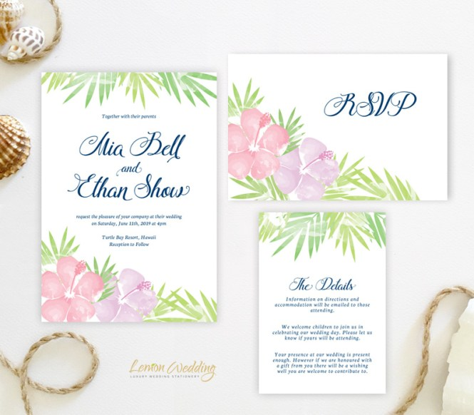 Hawaiian Wedding Invitation Sets