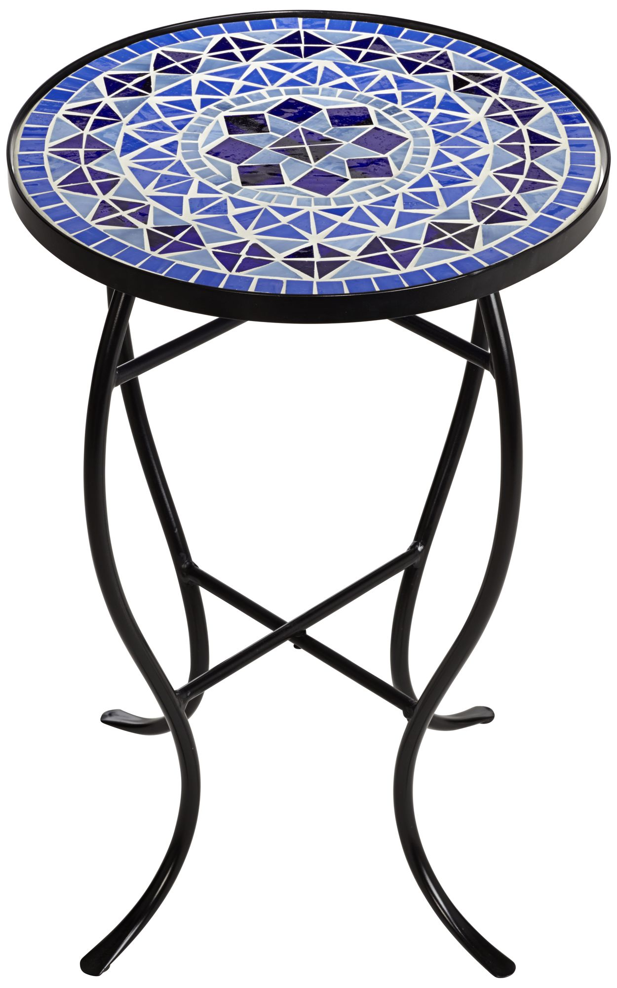 Cobalt Mosaic Black Iron Outdoor Accent Table - #6F095 ... on Outdoor Living Iron Mosaic id=94704