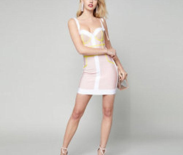 Pink V Necked Sexy Sweet Party Bandage Dress Prom Dress Party Dress For Girls