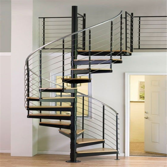 China Modern Design Stainless Steel Spiral Staircase With Oak Wood | Double Helix Spiral Staircase | Plan | Double Helical | Three Landing Design | Architecture | 1950'S