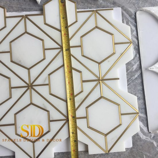 waterjet marble mosaic tiles