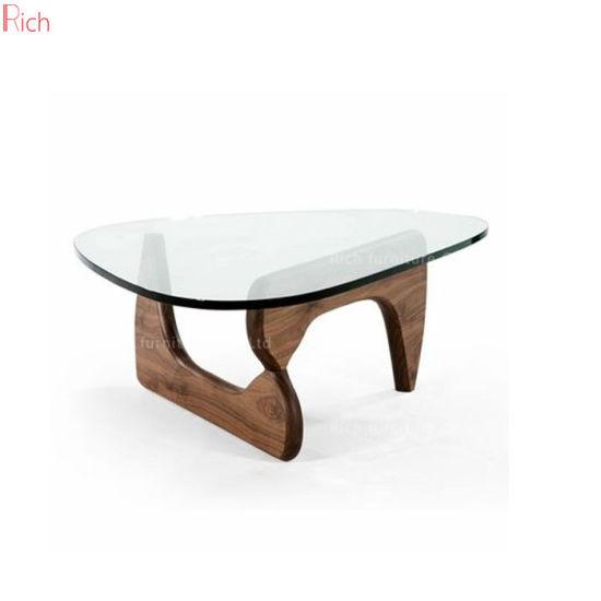 china designer oak wood base glass top