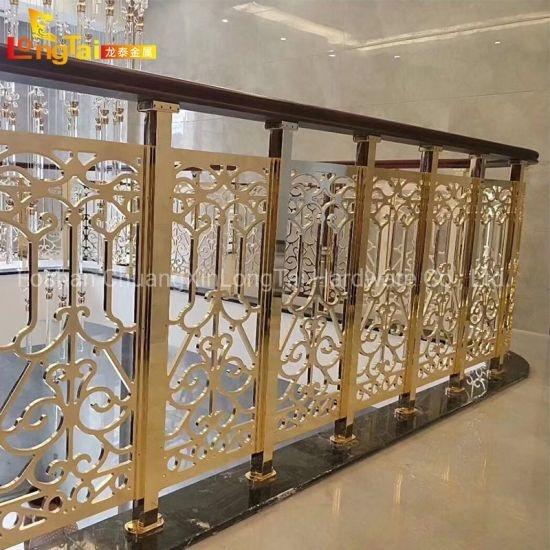 China Gold Aluminum Balustrade Luxury Metal Carve Panel Design | Metal Railing Designs Stairs | Front Porch Stair Railing | Banister | Residential | Caramel | Rustic