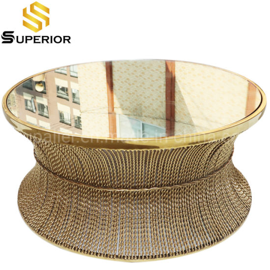 modern luxury big round coffee table of mirror glass top