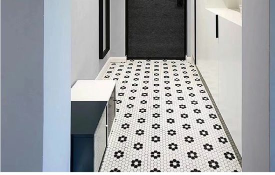 260x300mm black and white flower shape ceramic hexagon mosaic tile