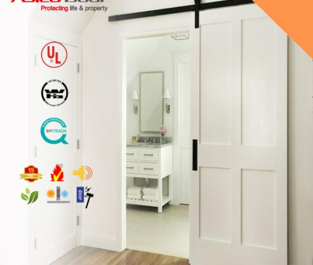 Classical Z Brace Unfinished Interior Barn Door Slab With Sliding Door Hardware