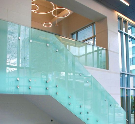 China Best Quality Frosted Laminated Glass Stair Railing Design | Best Railing Design For Stairs | Steel | Modern Stair | Steel Railing | Stainless Steel | Staircase Remodel