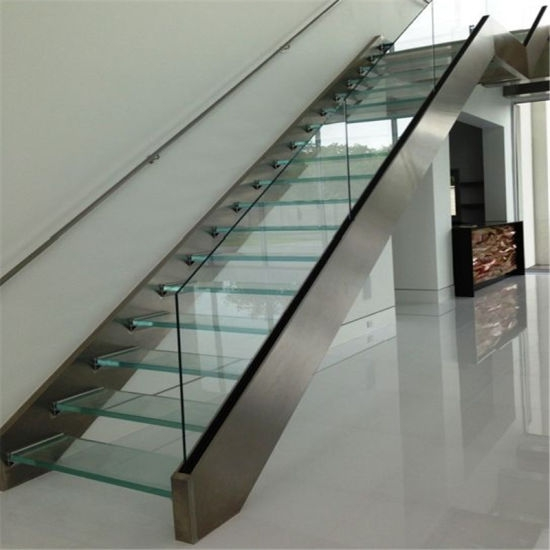 Modern Interior Glass Staircase Straight Mild Steel Glass Stair | Staircase Designs With Steel And Glass | Affordable | Outdoor | Railing | Spiral | Staircase Design Modern House
