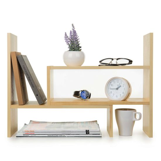 bamboo desk organizer adjustable desktop bookshelf rack countertop storage organizer for office kitchen spice books