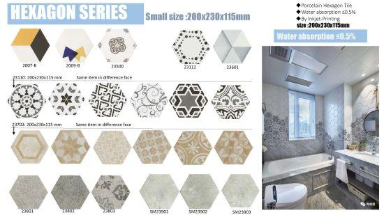 china hexagon floor tile 200x230mm