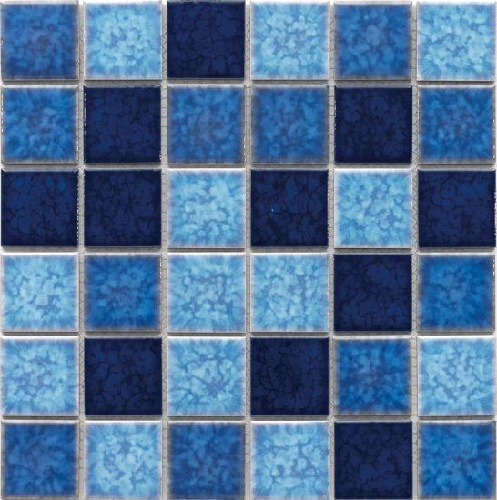 blue mosaic tile fish scale wall art mural ceramic tile for swimming pool
