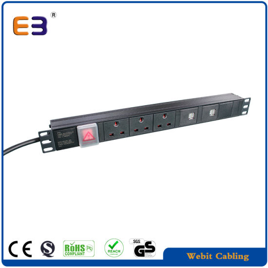 19 inch 1u uk pdu with usb outlet rack mount power strip