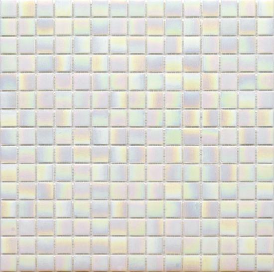 iridescent vitreous white tiles glass mosaics for bathroom wall